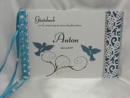 Gästebuch zur Konfirmation blau Tauben Blütenranke