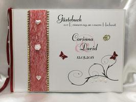 Gästebuch zur Hochzeit mit Fragen Herzen weiß mit 20 Fragebögen+30 weiße Innenblätter