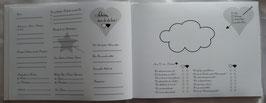 Extrafragebogen mit Fragen (doppelseitig) für ein Hochzeit-Hardcover-Gästebuch, DIN A4