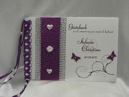 Gästebuch zur Hochzeit rötliches lila