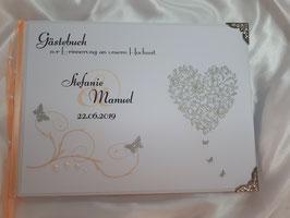 Gästebuch zur Hochzeit mit Fragen in Silber Apricot