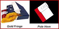 Pole Hem & Gold Fringe for Indoor Flags