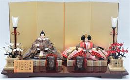 優香作ひな人形「親王飾り」帯鈎文錦