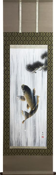 掛軸「松鯉登流図」