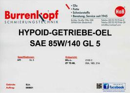 H.o.B-Hypoid-Getriebe-Oel SAE 85W/140 GL 5