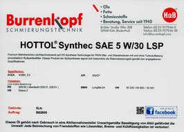H.o.B-Hottol Synthec SAE 5W/30 LSP