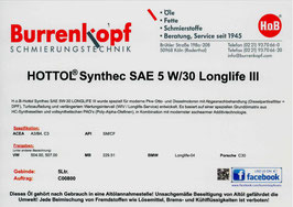 H.o.B-Hottol Synthec SAE 5W/30 Longlife III