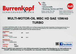 H.o.B-Multi-Motor-Oil MBC HD SAE 15W/40 TURBO