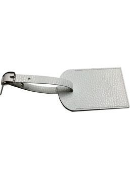Badge valigia in pelle bianca