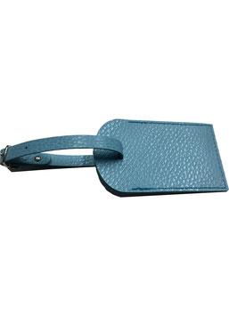Badge valigia in pelle azzurra