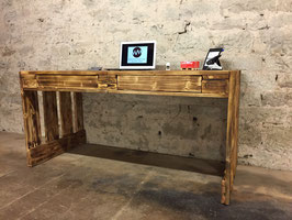 """Schreibtisch Palettenmöbel mit Schubladen """"Perugia"""" abgeflammt"""