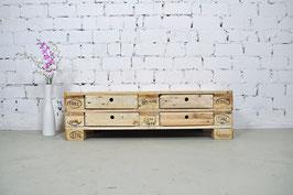 """Palettenmöbel Sideboard mit Schubladen Lowboard """"Dimitri"""" Natur geölt"""
