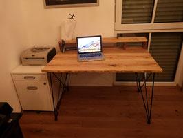 """Schreibtisch """"Larsson"""" aus Eiche Hairpin Legs Massiv Eichenholz"""