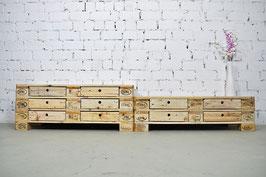 """XXL Palettenmöbel Sideboard mit Schubladen Lowboard """"Darian"""" Natur geölt"""