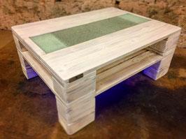"""Couchtisch Palettenmöbel mit Glasplatte + LED Beleuchtung """"Genua"""""""