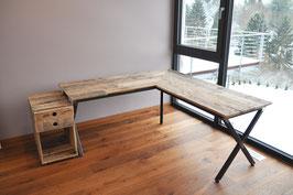 """Schreibtisch """"Adam"""" aus Europaletten mit Rohstahl Gestell"""