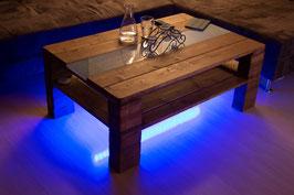 """Palettenmöbel Couchtisch  """"Turin"""" mit LED Beleuchtung + Glasplatte"""