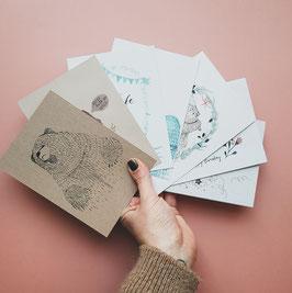 SET BÄR Postkarten 7 Stück