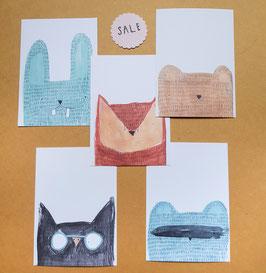 SALE SET TIERKÖPFE Postkarten 5 Stück