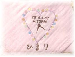 天使のガーゼ ピンク ハート柄 女の子用 ひらがなのお名前