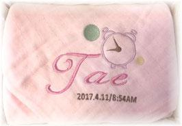 天使のガーゼ ピンク 時計柄 女の子用 英語のお名前
