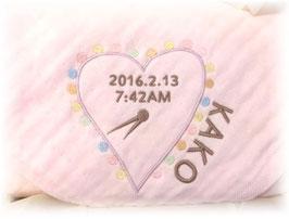 天使のガーゼ ピンク ハート柄 女の子用 英語のお名前