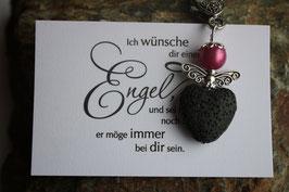 Schutzengel Anhänger mit Lava Perle black heart (21)