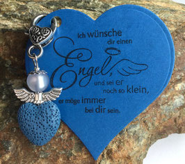 Schutzengel Anhänger Lava Perle blue heart II (41A)