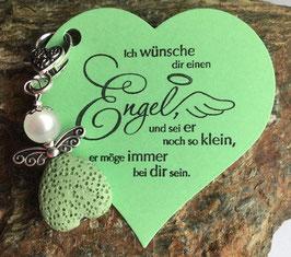 Schutzengel Anhänger Lava Perle green/white (35)
