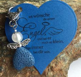 Schutzengel Anhänger Lava Perle blue heart (42A)