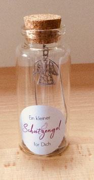 Edelstahl Halskette mit Schutzengel im Glas I