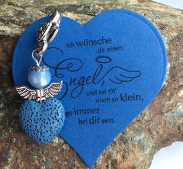 Schutzengel Anhänger Lava Perle blue heart II (41)