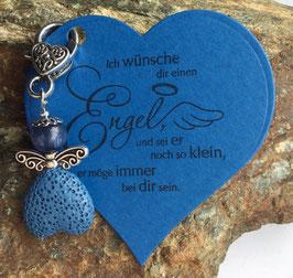 Schutzengel Anhänger mit Lava Perle blue heart (40)