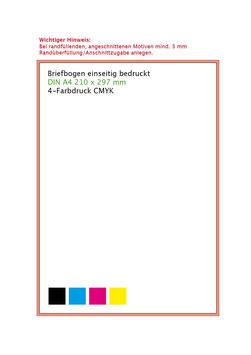 Briefbogen einseitig im Offset 4-Farbendruck gem Euroskala