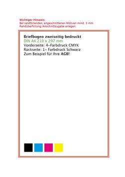 Briefbogen zweiseitig im Offset 4-Farbendruck gem Euroskala - Rückseite 1-Farbendruck Schwarz