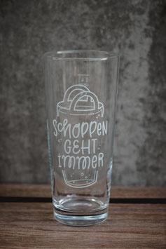 """Glas """"S(c)hoppen geht immer"""""""