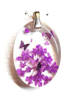 Anhänger mit getrockneten Blüten und Schmetterlingen (925er Silber)
