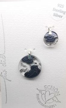 Anhänger Wellen mit Blattgold Imitat  - 925 Silber