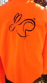 Veste polaire fluo lièvre brodée dans le dos
