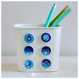 6er Set Magnete - Pusteblumen blau - 25mm
