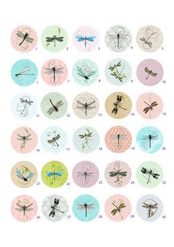 1 Button nach Wahl - Libellen - 25mm