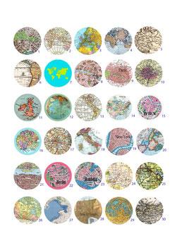 1 Button nach Wahl - Maps/Karten - 25mm