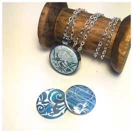 Kette mit Magnetanhänger - Ornamente - blau, türkis, petrol