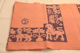Nappe en coton rose et bleue - broderie et monogrammes avec 6 serviettes