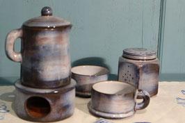 """Duo 5 pièces """"ONET"""" céramique artisanale: 1 théière et support chauffant bougie - 2 tasses - 1 sucrier."""