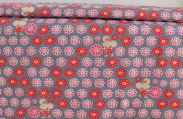 Maus Kikibell und Blumen, grau, rosa, rot