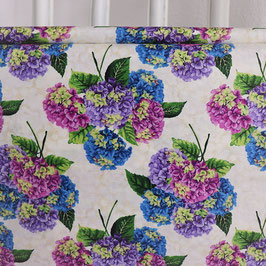 Hortensien in lila, grün, blau, beigegrundig