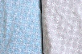 Ornamente in hellblau/grau und rosa/taupe