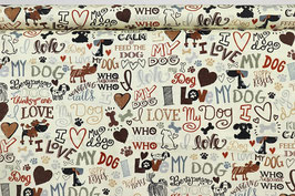 I love my dog, braun/creme/schwarz, PW