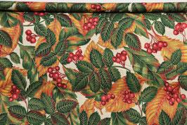 Herbstblätter und Beeren, cremegrundig, gold beschichtet, PW